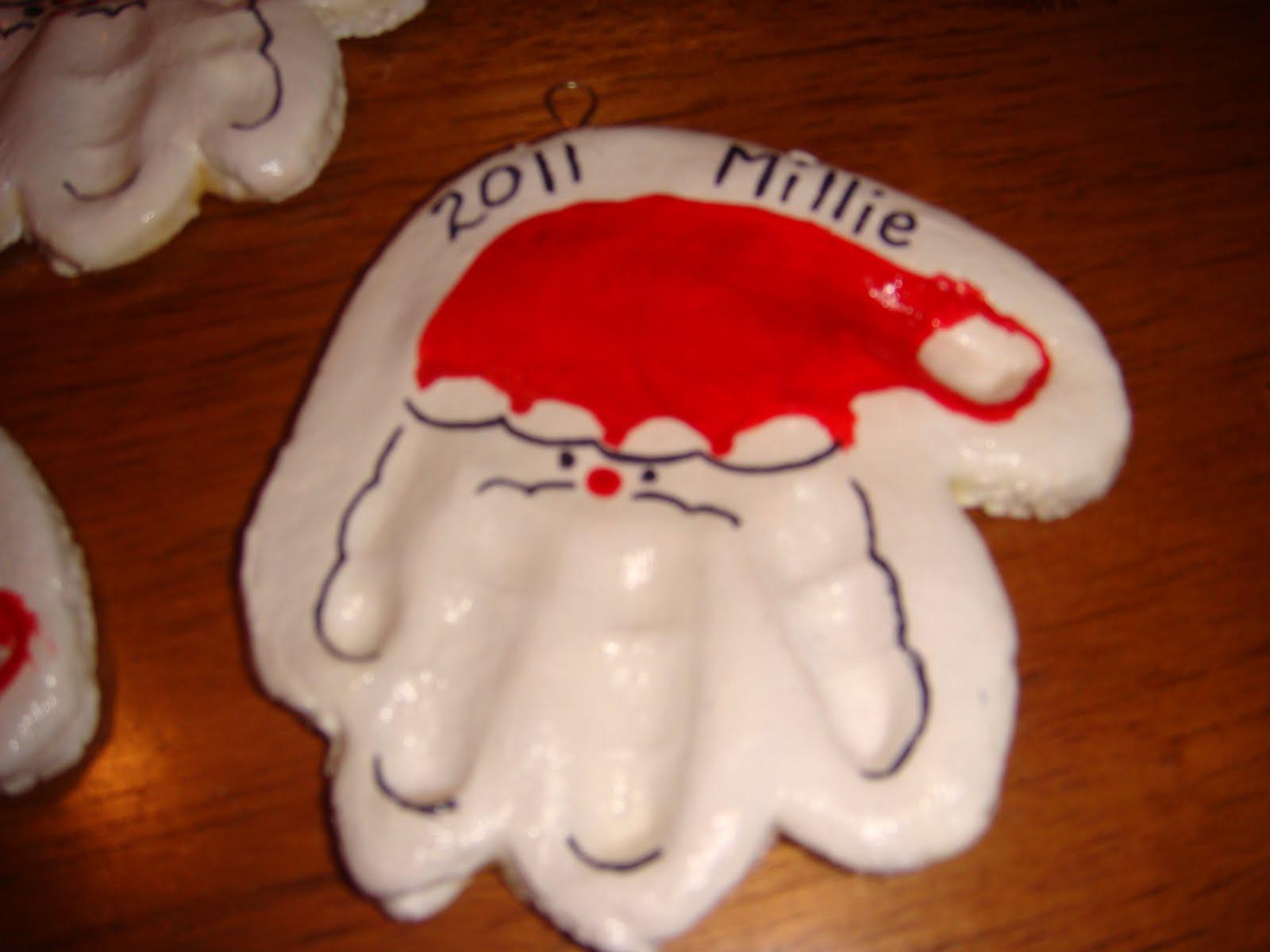 How To Make Christmas Tree Ornaments With Dough : Homemade christmas handprint ornaments oflc mops